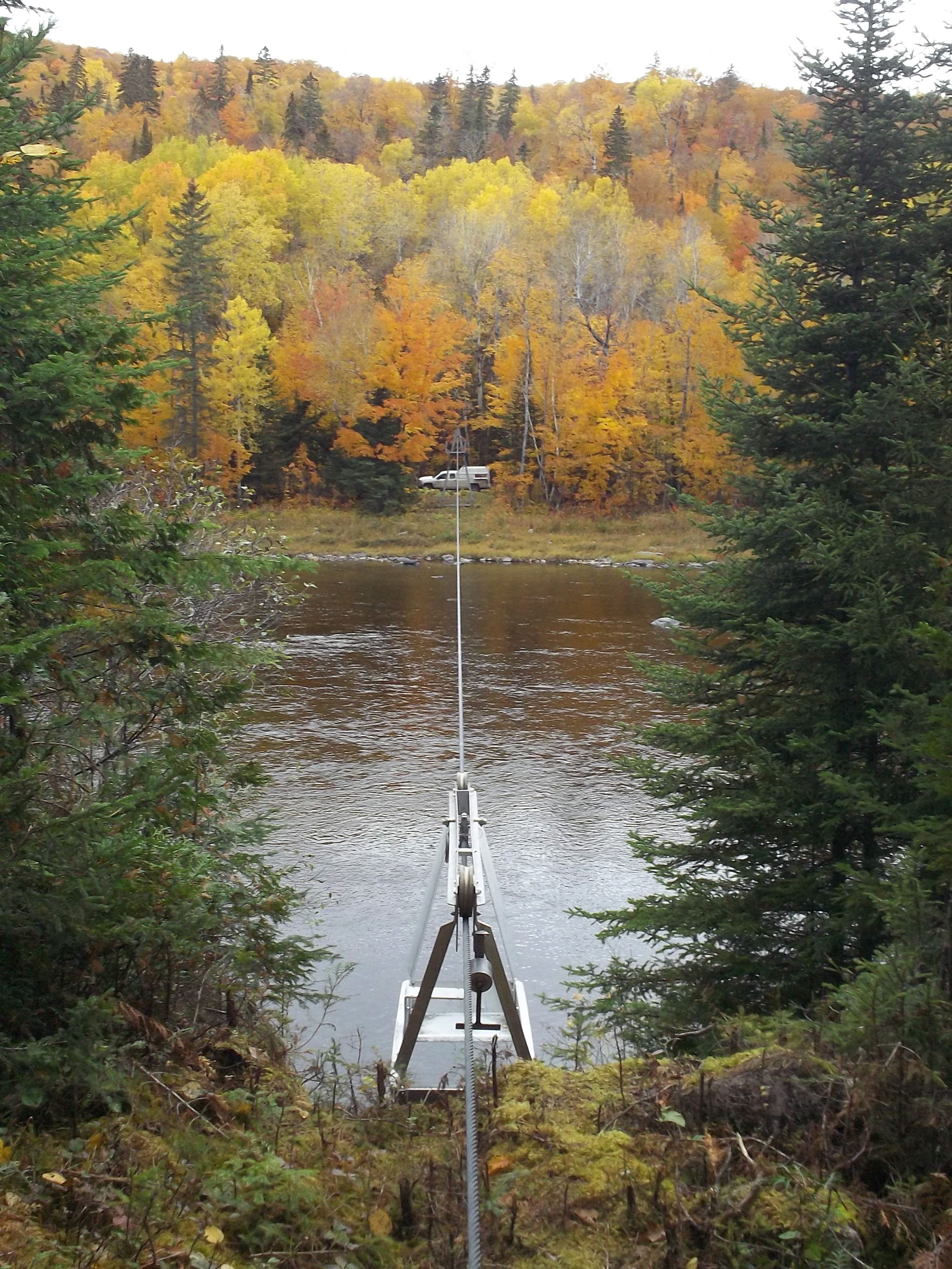 The manned cableway over the Allagash River.